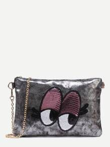 Metallic Grey Sequin Eye Clutch With Chain