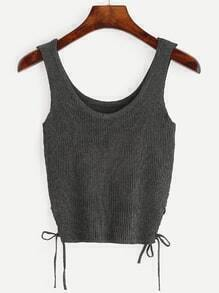 Grey Lace Up Side Ribbed Knit Tank Top