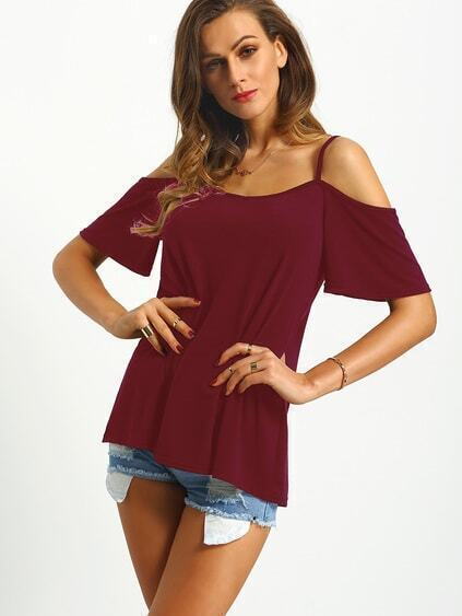 Burgundy Cold Shoulder T-shirt