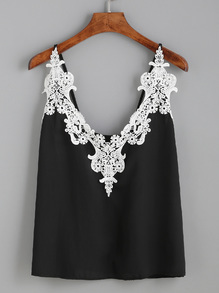 Black Embroidered Lace Applique Cami Top
