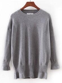 Suéter ribete elástico entallado - gris