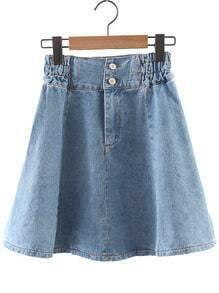 Blue High Waist Pleated Denim Skirt
