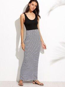 Black White Contrast Striped Tank Dress