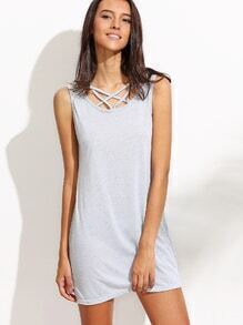 Grey Lattice Front Tank Dress