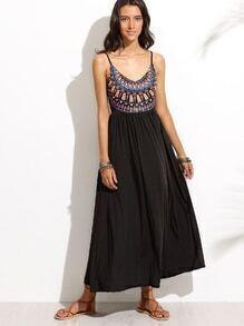 Black Open Back Geometric Print Dress