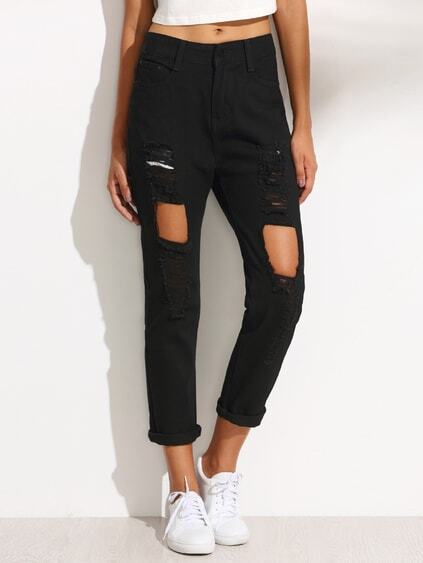 Black Ripped Denim Pants