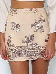 Apricot Sequin Floral Bodycon Skirt