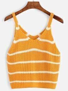 Yellow Striped Knit Tank Top