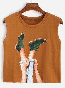 Camel Graphic Print Crop Top
