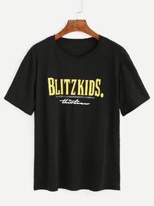 T-shirt imprimé lettres manche courte - noir