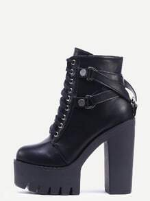 Black Round Toe Lace-up Platform Chunky Ankle Boots