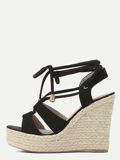 Black Peep Toe Lace-up Espadrille Wedges