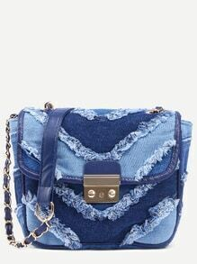 Blue Color Block Frayed Denim Flap Bag