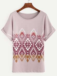 Pink Tribal Print Roll Sleeve Top