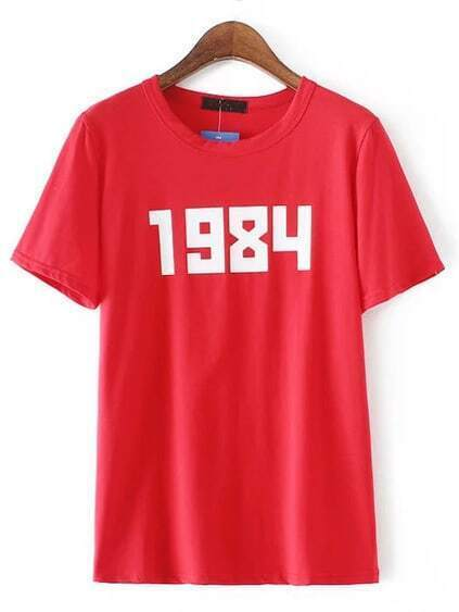 Red Round Neck Number Print T-shirt