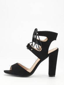 Black Faux Suede Lace Up Block Heel Sandals