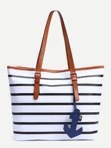 White Striped Buckle Handle Tote Bag