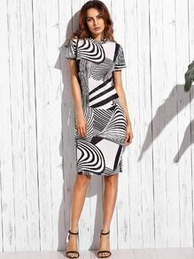 Contrast Asymmetric Stripe Pencil Dress