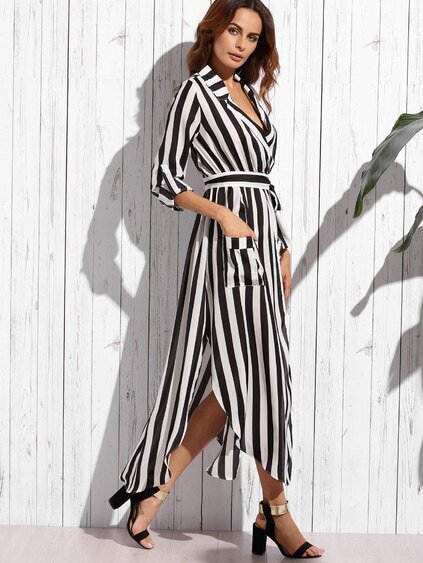 Contrast Vertical Striped Notch Lapel Belted Shirt Dress