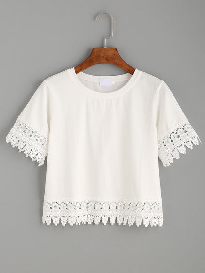 White Crochet Trim Crop T-shirt