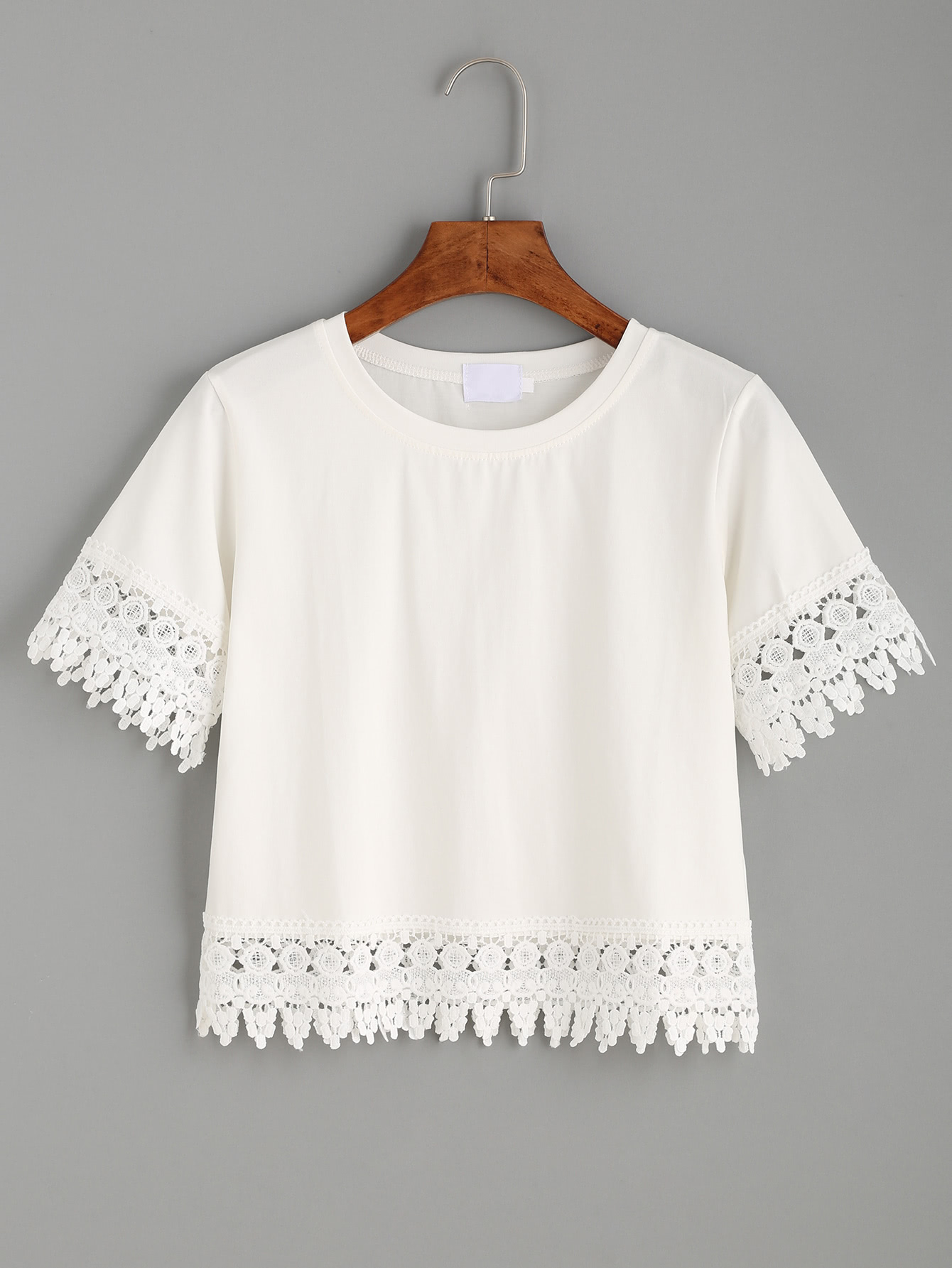 white crochet trim crop t shirtfor women romwe. Black Bedroom Furniture Sets. Home Design Ideas