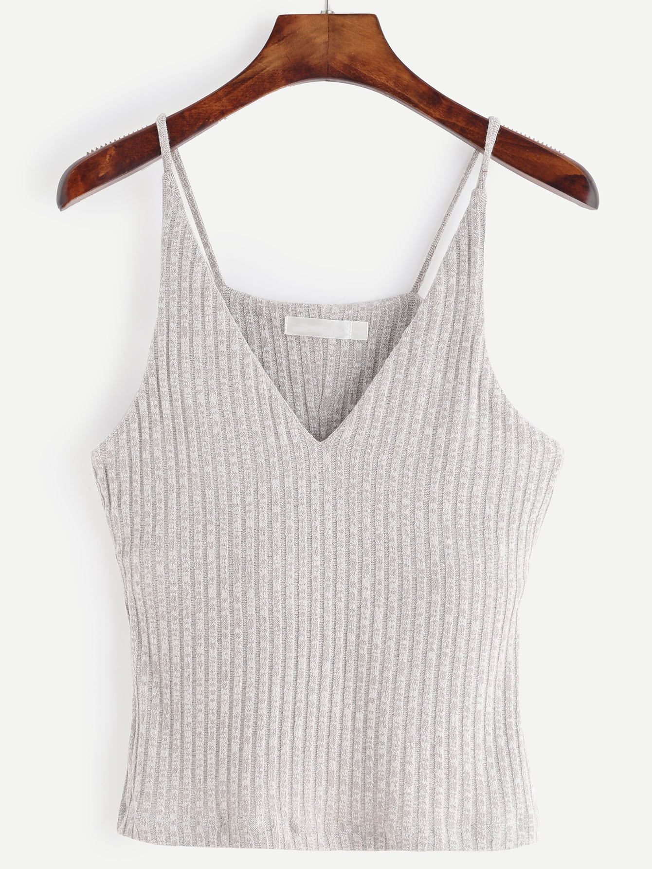 Grey Marled Knit Ribbed Cami Top vest160715007