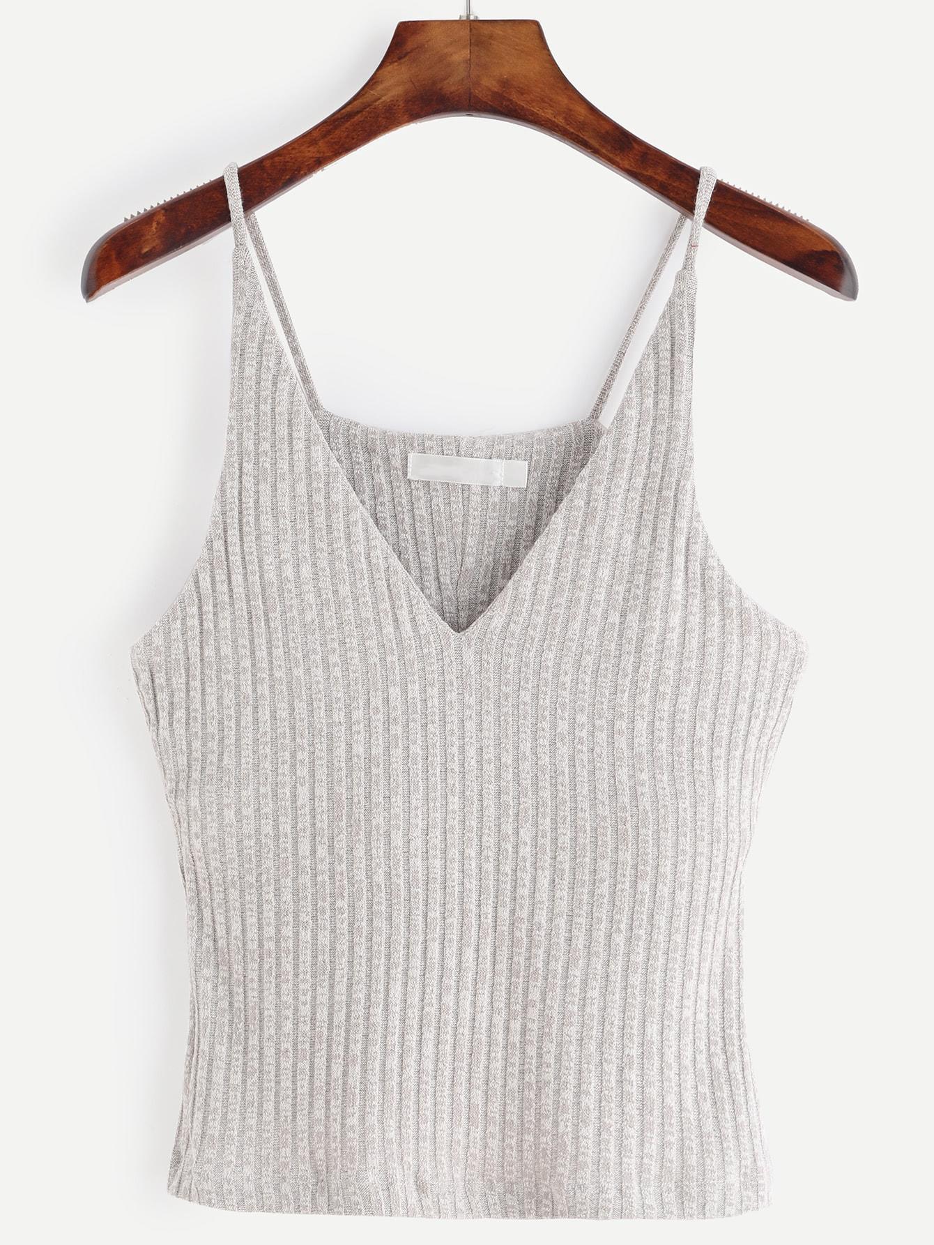 Grey Marled Knit Ribbed Cami Top