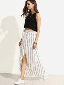 White Striped Wrap Asymmetrical Self Tie Skirt