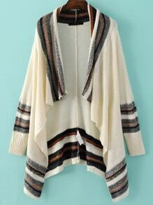 Multicolor Stripe Trim Asymmetric Cardigan