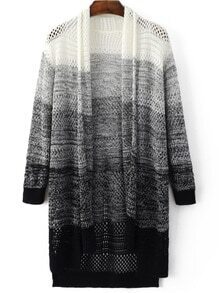 Ombre Hollow High Low Cardigan