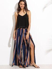 Stripe Split Side Pants With Belt