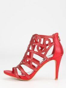 Red Faux Suede Laser-Cut Peep Toe Sandals
