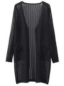 Black Long Sleeve Pocket Cardigan