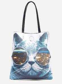 Cat Print Faux Leather Tote Bag