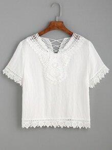 White Contrast Lace Crochet Lattice Back Top