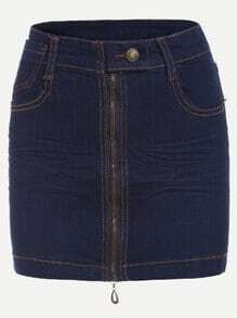 Blue Zipper Front Denim Skirt
