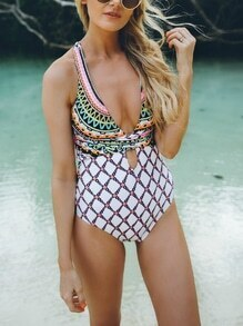 Multicolor Tribal Print Crisscross-Back Cut Out Swimwear