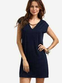 Vestido escote V holgado - azul