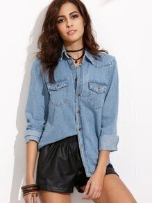 Blue Lapel Pockets Denim Blouse