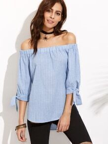 Off The Shoulder Vertical Striped High Low Blouse