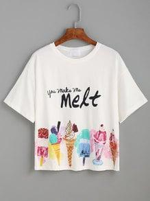 Camiseta helado estampado - blanco
