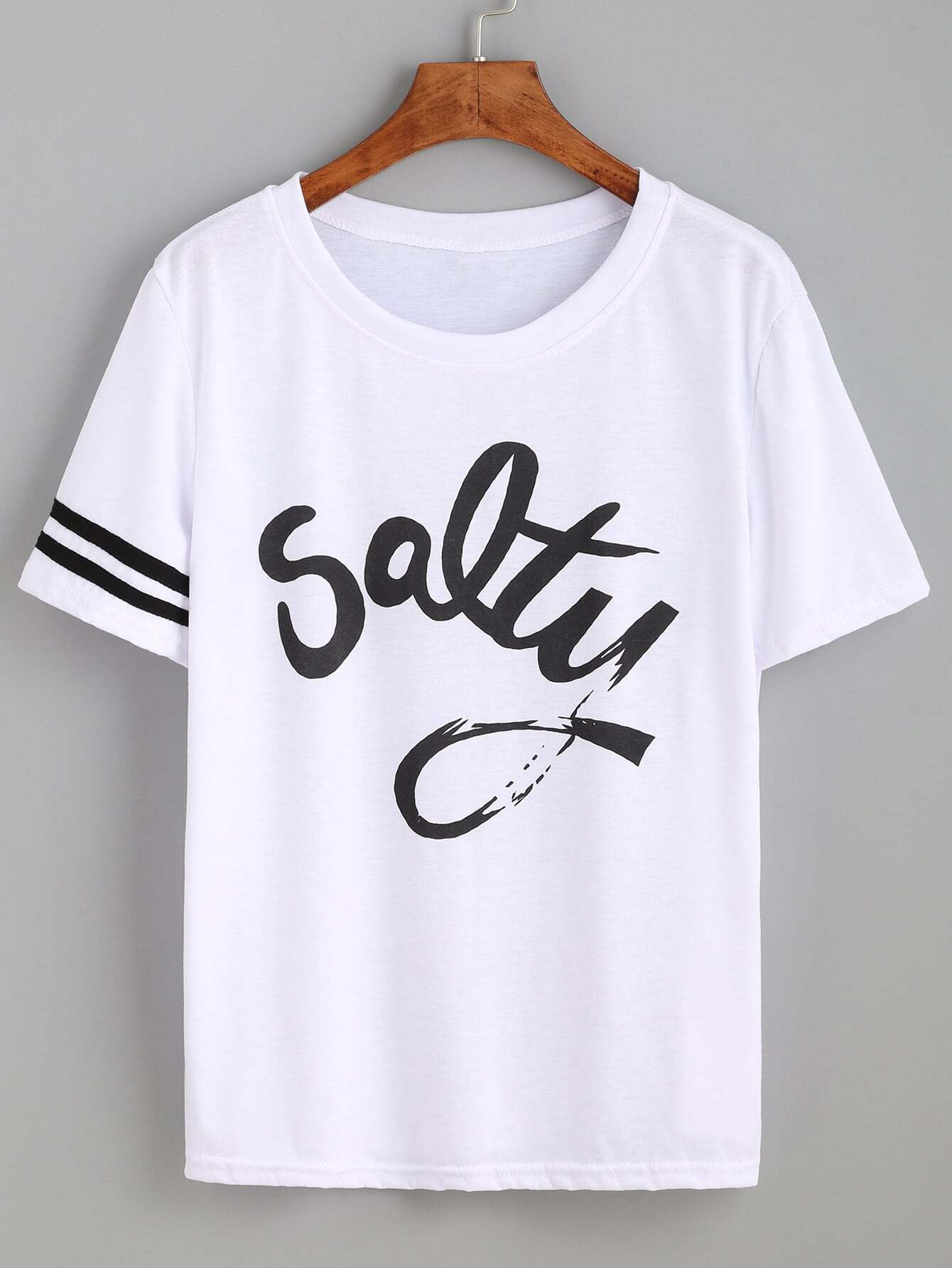 White striped trim letters print t shirtfor women romwe for Print photo on shirt