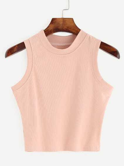 Top col rond sans manche - rose