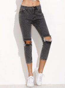 Pantalones rotos denim - gris