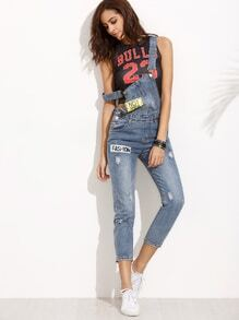 Blue Straps Ripped Letters Print Denim Overall Pants