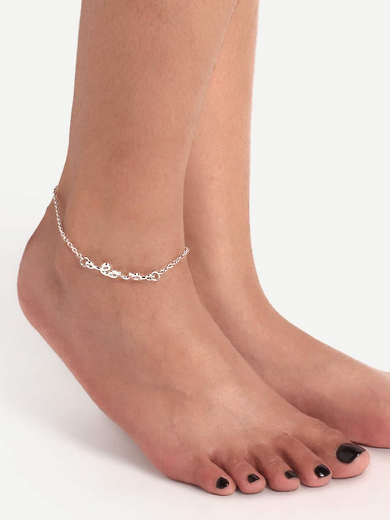 sliver love letter anklet chainfor women romwe With letter anklets