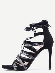 Sandalias serpiente con cordones -negro