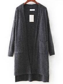 Grey Pocket High Low Cardigan