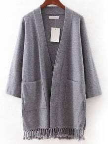 Grey Pocket Tassel Cardigan