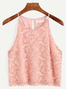 Pink Embroidered Lace Cami Top
